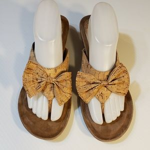 J Renee Cork Bow Wedge Sandals size 9.5M